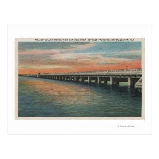 Millón de puentes del dólar sobre el río del tarjeta postal