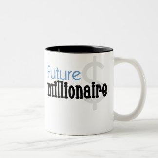 Millonario futuro azul taza de café de dos colores
