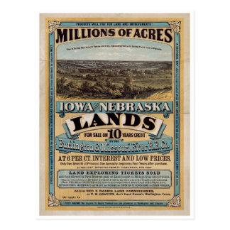 Millones de acres. Iowa y Nebraska 1872 Tarjeta Postal