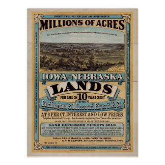 Millones de acres Iowa y Nebraska Poster