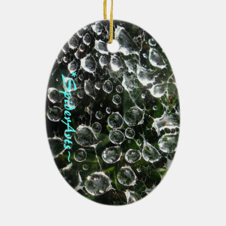 Millones y millones de gotitas de agua adorno ovalado de cerámica