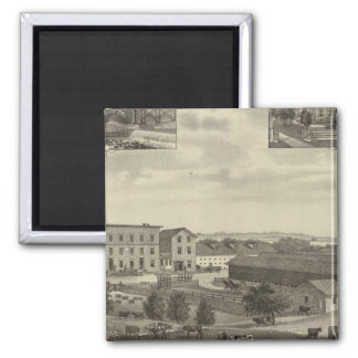 Mills and Residences in Kansas 2 Inch Square Magnet