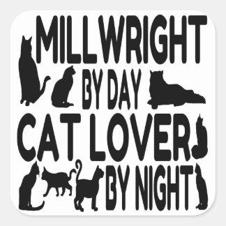 Millwright del amante del gato pegatina cuadrada