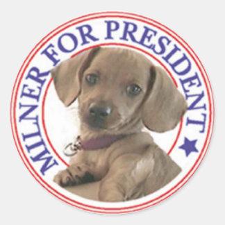 Milner para presidente Sticker Pegatina Redonda