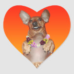 Milner the Dancing Dachshund Heart Stickers