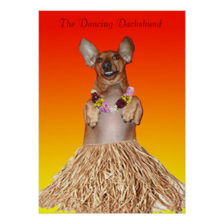 Milner The Dancing Dachshund Hula Poster