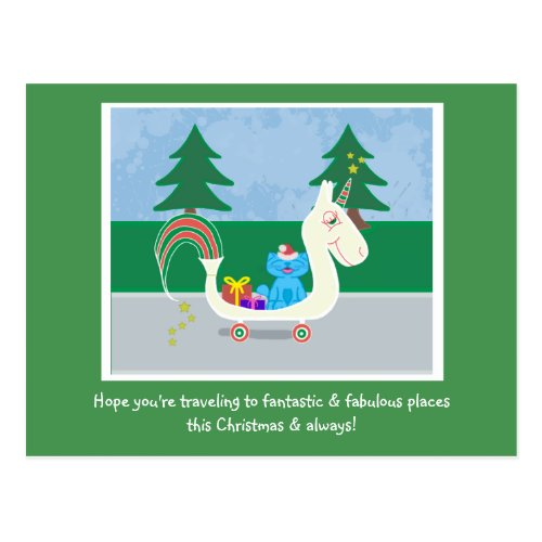 Milo Blue Cat Christmas Unicorn #1 Lined Holiday Postcard