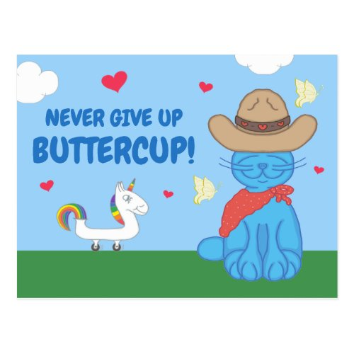 Milo Blue Cat Cowboy Never Give Up Buttercup Postcard