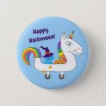 Milo Blue Cat Halloween Unicorn Button