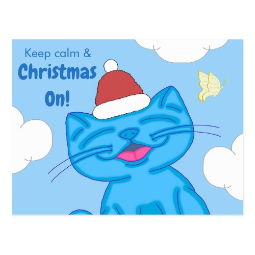 Milo Blue Cat Keep Calm & Christmas On Lined Postcard