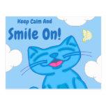 Milo Blue Cat Keep Calm & Smile On Lined Postcard
