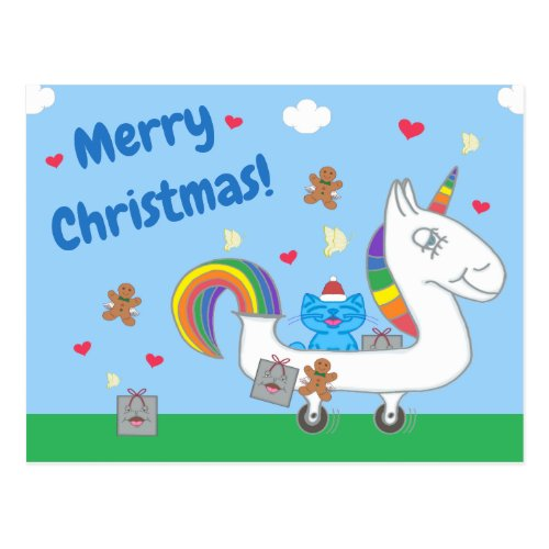 Milo Blue Cat Merry Christmas Unicorn Postcard