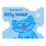 Milo Blue Cat Peace Love & Kitty Smiles Lined Postcard