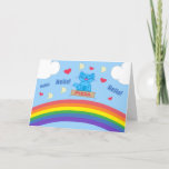 Milo Blue Cat Pizza Box Over Rainbow Hello Card