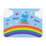 Milo Blue Cat Pizza Box Over Rainbow Hello Magnet