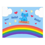 Milo Blue Cat Pizza Box Over Rainbow Hello Postcard