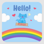 Milo Blue Cat Pizza Box Over Rainbow Hello Square Sticker