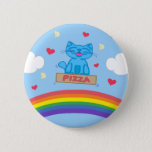 Milo Blue Cat Pizza Box Over Rainbow Round Button