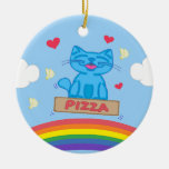 Milo Blue Cat Pizza Box Over Rainbow Round Ceramic Ornament