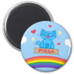 Milo Blue Cat Pizza Box Over Rainbow Round Magnet