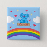 Milo Blue Cat Pizza Box Over Rainbow Square Button