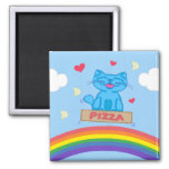 Milo Blue Cat Pizza Box Over Rainbow Square Magnet