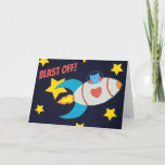Milo Blue Cat Space Rocket Blast Off Card