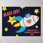 Milo Blue Cat Space Rocket Blast Off Poster