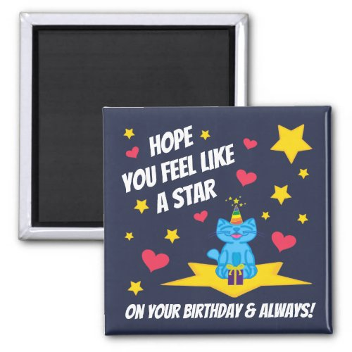 Milo Blue Cat Star On Your Birthday Dark Blue Square  Magnet