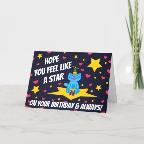 Milo Blue Cat Star On Your Birthday Space Card