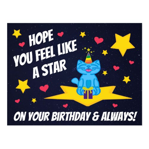 Milo Blue Cat Star On Your Birthday Space Postcard
