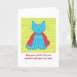 Milo Blue Cat Superhero Get Well Card