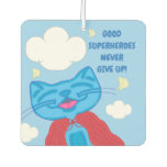 Milo Blue Cat Superhero Never Give Up Air Freshener