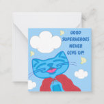 Milo Blue Cat Superhero Never Give Up Note Card