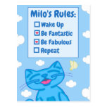 Milo Blue Cat Wake Up Be Fabulous Repeat Lined Postcard