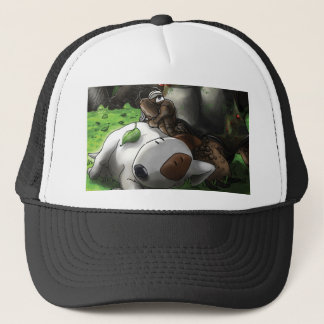 Milo in the forest trucker hat