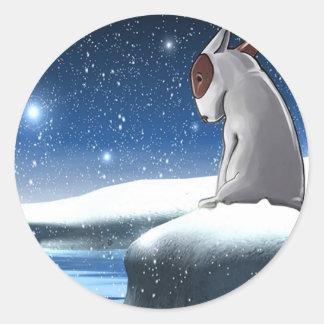 Milo in the snow classic round sticker