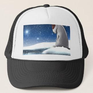 Milo in the snow trucker hat