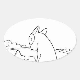 Milo & Ze (Original Bull Terrier Artwork) Oval Sticker
