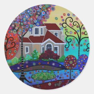 Milo's Summer Garden in BC Classic Round Sticker