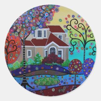 Milo's Whimsical Happy Summer Garden Classic Round Sticker