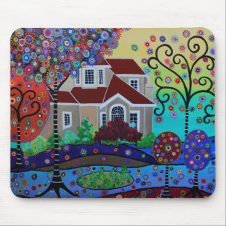 Milo's Whimsical Happy Summer Garden Mouse Pad