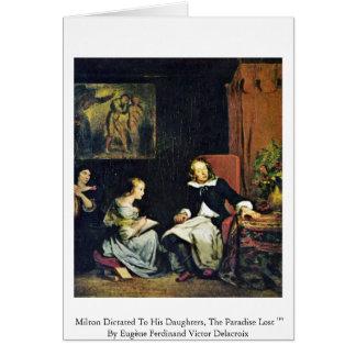 Milton dictó a sus hijas tarjeta de felicitación