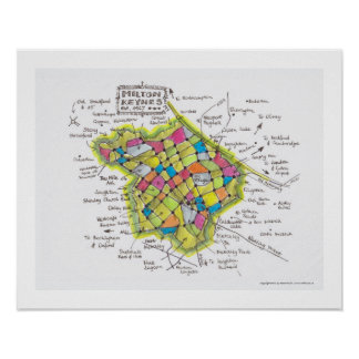 Milton Keynes hand-sketched map by Robert Rusin Poster