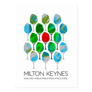Milton Keynes trees design postcard