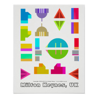 Milton Keynes urban design poster by Robert Rusin