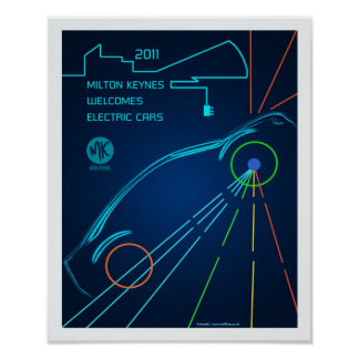 Milton Keynes welcomes electric cars poster