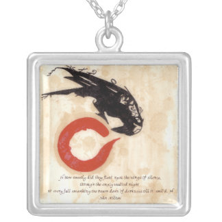 Milton Raven Quote Silver Plated Necklace