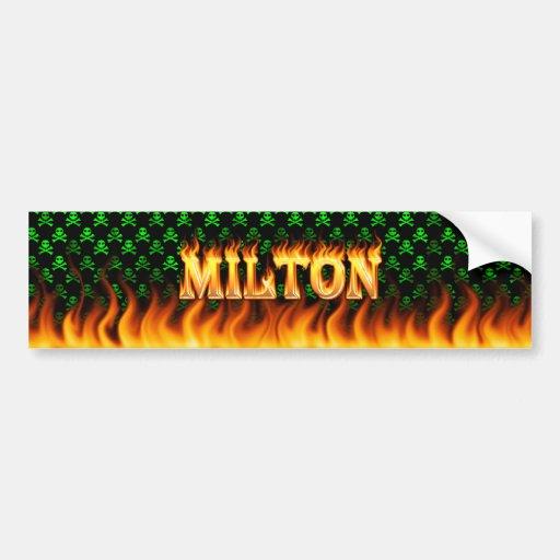 Milton real fire and flames bumper sticker design car bumper sticker