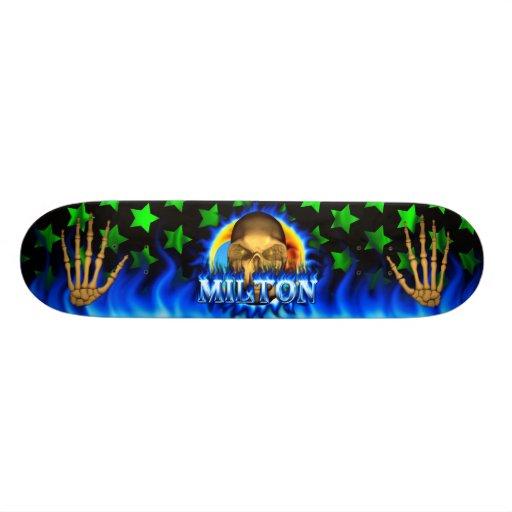 Milton skull blue fire Skatersollie skateboard